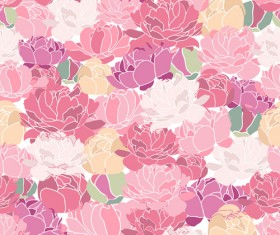 Pink Peonies seamless pattern hand drawing vector 01