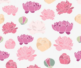 Pink Peonies seamless pattern hand drawing vector 02