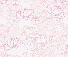 Pink Peonies seamless pattern hand drawing vector 03