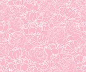 Pink Peonies seamless pattern hand drawing vector 04