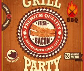 Retro grill party poster vector material 01