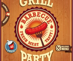 Retro grill party poster vector material 02