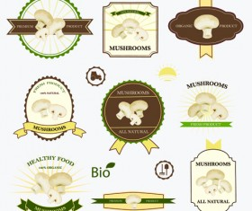 Retro mushrooms labels design vector