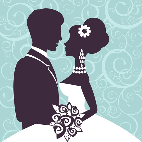 Sina with bride wedding vector silhouettes 03