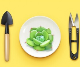 Succulents with scissors and shovel psd material
