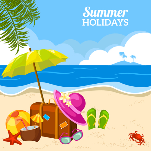 Summer Holiday Happy Beach Background Vector 03