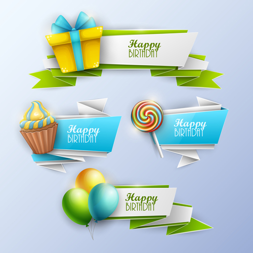 Sweet With Birthday Banner Vector Material 01
