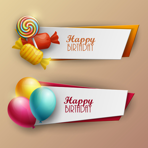 Sweet with birthday banner vector material 02