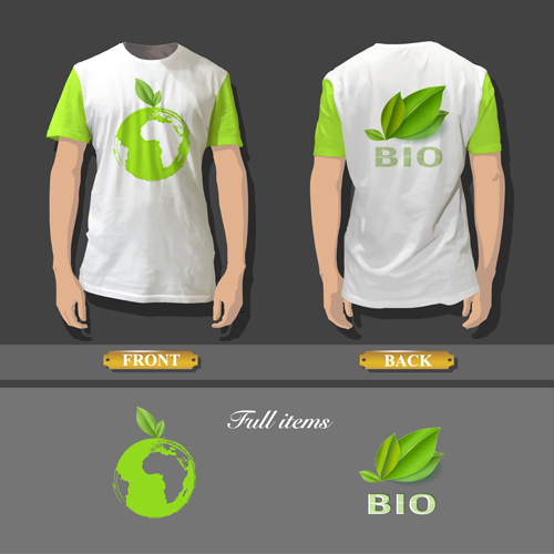 T shirt front and back creative design vector set 01 for T shirt design upload picture
