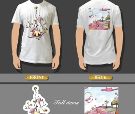 T-shirt front and back creative design vector set 02