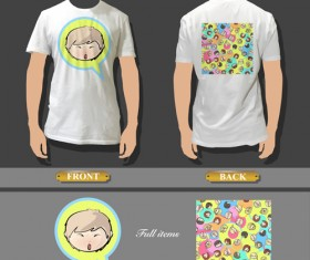 T-shirt front and back creative design vector set 03