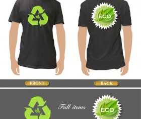 T-shirt front and back creative design vector set 04