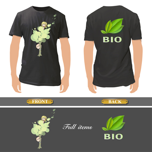 T shirt front and back creative design vector set 08 for T shirt design upload picture