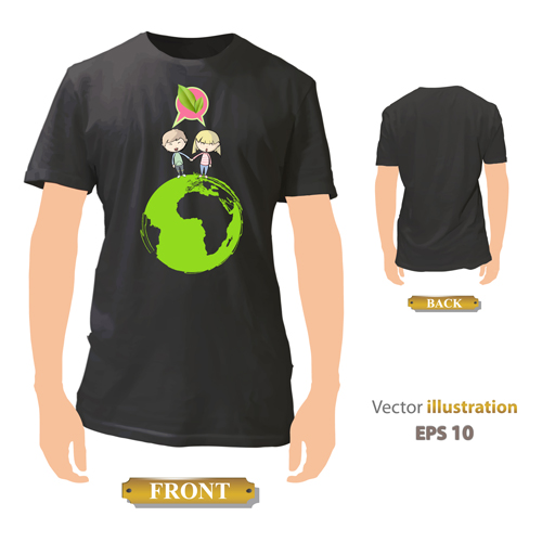 T shirt front and back creative design vector set 22 for T shirt design upload picture