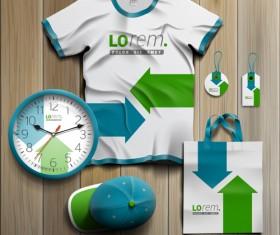 T-shirt with tags cap bag and clock kit vector 01