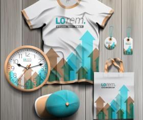 T-shirt with tags cap bag and clock kit vector 02