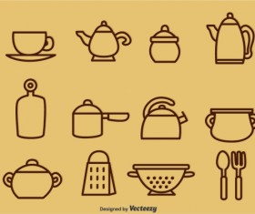Tableware outline icons vector
