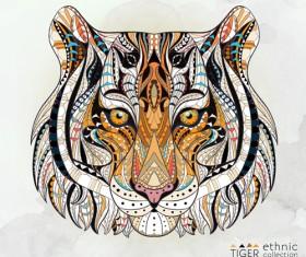 Tiger ethnic pattern vector