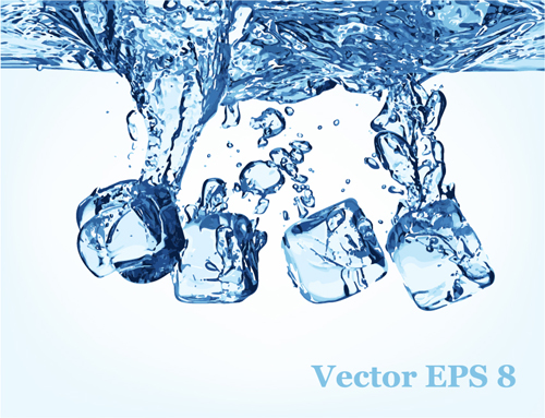 Transparent water splash effect vector background 05
