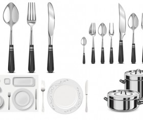Vector exquisite tableware and kitchenware