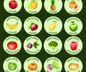 Vegetables with fruits round icons vector