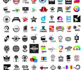 Video with movie logos creative design vector