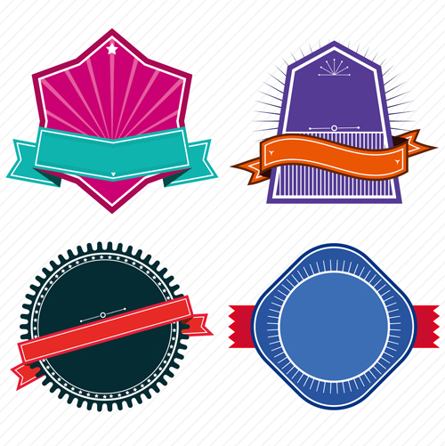 vintage colored labels with ribbon vectors 02 free download rh freedesignfile com ribbon vector free download ribbon vector free download