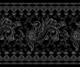 Vintage floral ornate with black background vector 02