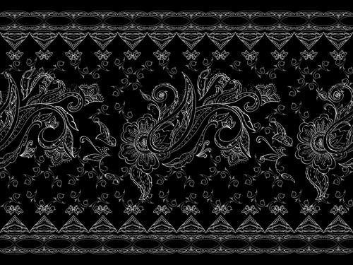 Vintage floral ornate with black background vector 02