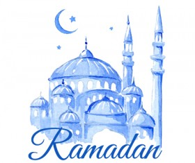Watercolor drawing ramadan Kareem vector background 01