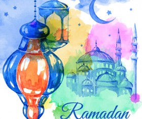Watercolor drawing ramadan Kareem vector background 02