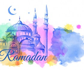 Watercolor drawing ramadan Kareem vector background 03