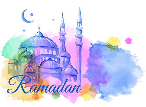 Watercolor drawing ramadan Kareem vector background 03