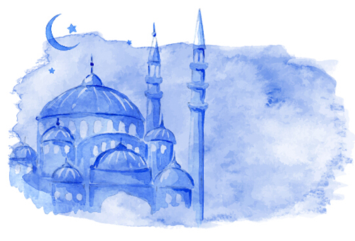 Watercolor drawing ramadan Kareem vector background 04