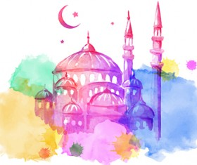 Watercolor drawing ramadan Kareem vector background 05
