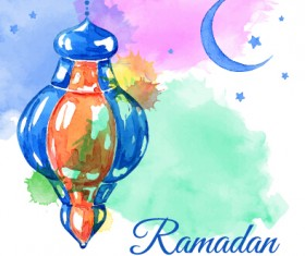 Watercolor drawing ramadan Kareem vector background 06