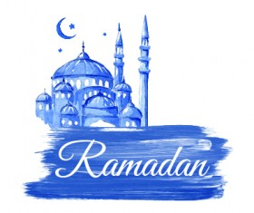 Watercolor drawing ramadan Kareem vector background 07