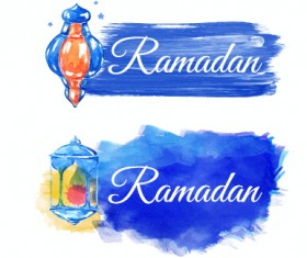 Watercolor drawing ramadan Kareem vector background 08