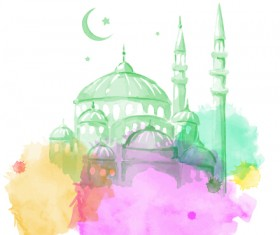 Watercolor drawing ramadan Kareem vector background 10