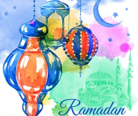 Watercolor drawing ramadan Kareem vector background 11