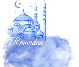 Watercolor drawing ramadan Kareem vector background 12