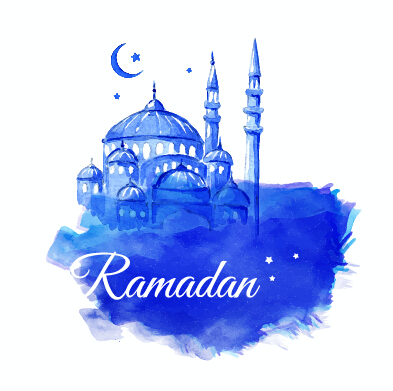 Watercolor Drawing Ramadan Kareem Vector Background 14