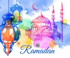 Watercolor drawing ramadan Kareem vector background 15