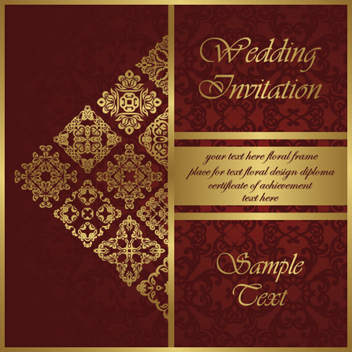 Wedding Invitation Card Vintage Styles Vector 02 Free Download