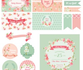 Wedding cards with ornaments material kit vector 02