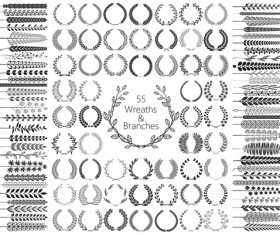 Wreaths and branches design vector material 01