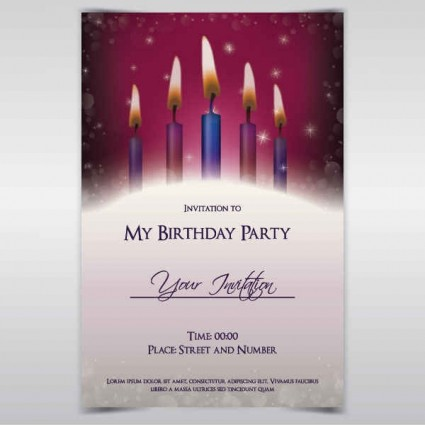 Exquisite Birthday Invitations Card Vector Free Download