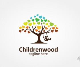 children swing with tree logo vector material