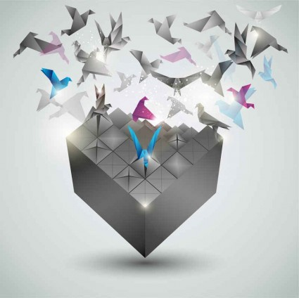 Creative paper cranes background Illustration vector