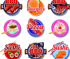 BBq pizza with ice cream and sushi burgers vector labels